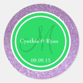 Purple Glitter & Malachite Green Wedding Monogram Round Sticker