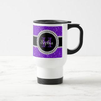 Purple Glitter Monogrammed Commuter Coffee Mug
