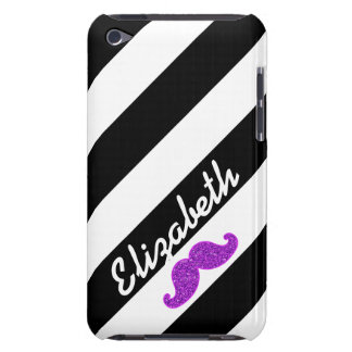 PURPLE GLITTER MUSTACHE BLACK STRIPES NAME BARELY THERE iPod CASES