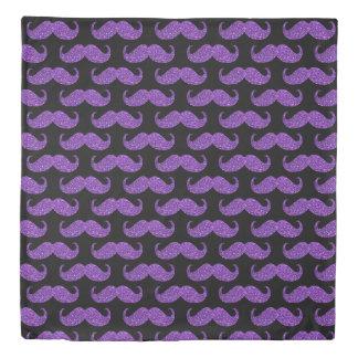Purple Glitter Mustache Duvet Cover