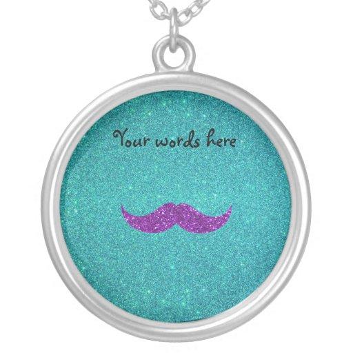 Purple glitter mustache turquoise glitter necklace