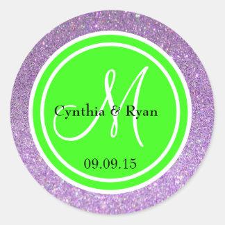 Purple Glitter & Neon Green Wedding Monogram Round Sticker