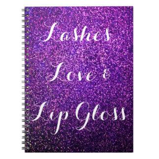 purple glitter notebook lashes love lipgloss
