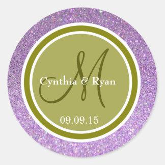 Purple Glitter & Olive Green Wedding Monogram Round Sticker