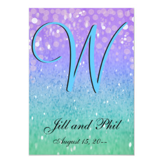 "Purple Glitter Patio Lantern Confetti Glam Blue 5"" X 7"" Invitation Card"