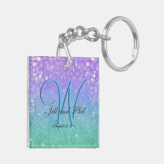 Purple Glitter Patio Lantern Confetti Glam Blue Keychain