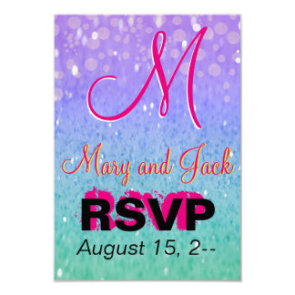 """Purple Glitter Patio Lantern Confetti Glam Glow 3.5"""" X 5"""" Invitation Card"""