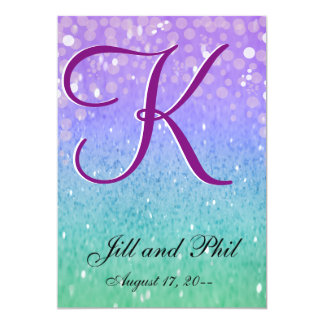 "Purple Glitter Patio Lantern Confetti Glam Glow 5"" X 7"" Invitation Card"