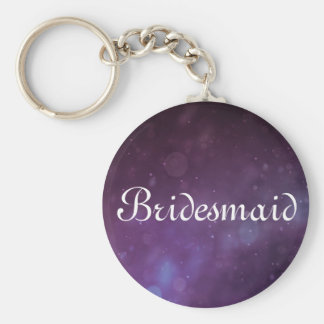 Purple Glitter Personalized Bridesmaid Keychain