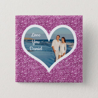 Purple Glitter Photo Heart 2 Inch Square Button
