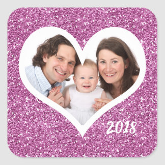 Purple Glitter Photo Heart Square Sticker