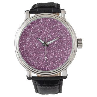 Purple Glitter Printed Watch