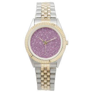 Purple Glitter Printed Wristwatches