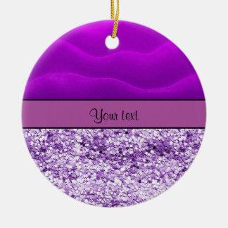 Purple Glitter & Sand Round Ceramic Ornament