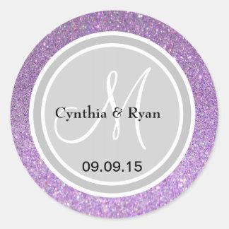 Purple Glitter & Silver Wedding Monogram Label Round Sticker