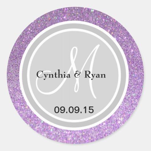 Purple Glitter & Silver Wedding Monogram Label Stickers
