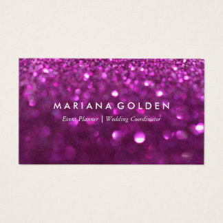 Purple Glitter Sparkle Business Card on Gold Paper