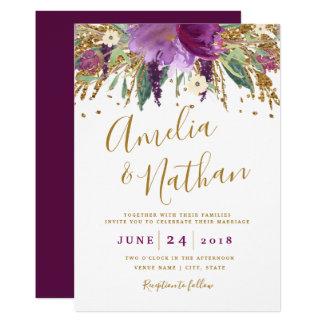 Purple Glitter Sparkling Amethyst Wedding Card