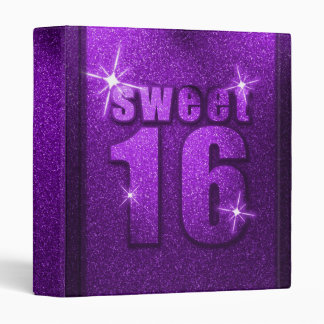 Purple Glitter Sweet 16 Birthday Binder