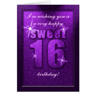 Purple Glitter Sweet 16 Birthday Party Card
