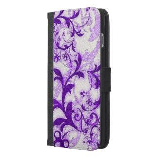 Purple glitter swirls iphone6 wallet phone case