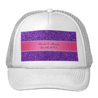 Purple glitter wedding favors trucker hat