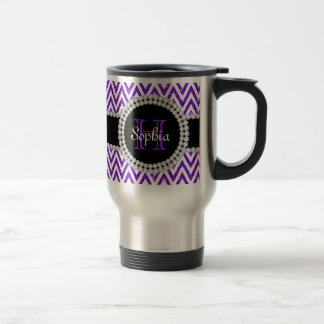 Purple Glitter White Chevrons Monogram Travel Mug