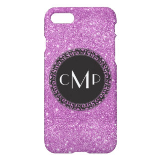 Purple Glitter with Black Circle - iPhone 7 case