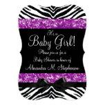 "Purple Glitter Zebra Bow Baby Shower Girl 5"" X 7"" Invitation Card"