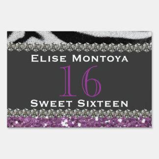 Purple Glitter Zebra Stripes Sweet 16 Sign