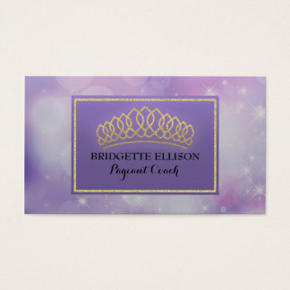 Purple Glittering Stars Pageant Coach Business Card