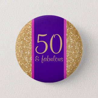 Purple & Glittery 50 & Fabulous 50th Birthday 2 Inch Round Button