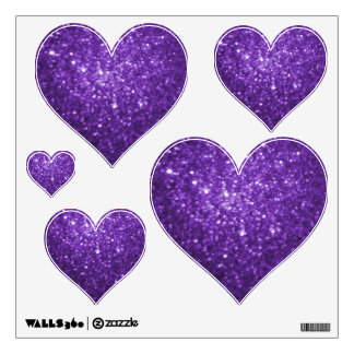 Purple Glittery Look Heart: Wall Decals