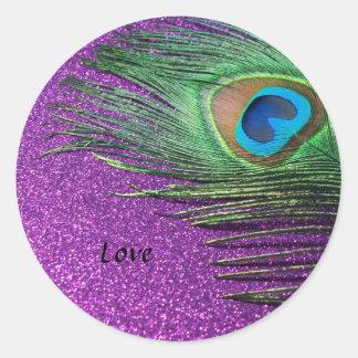 Purple Glittery Peacock Feather Still Life Classic Round Sticker