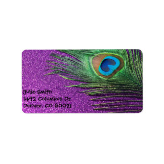 Purple Glittery Peacock Feather Still Life Label