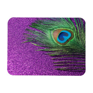 Purple Glittery Peacock Feather Still Life Flexible Magnets