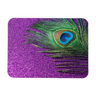 Purple Glittery Peacock Feather Still Life Rectangular Photo Magnet