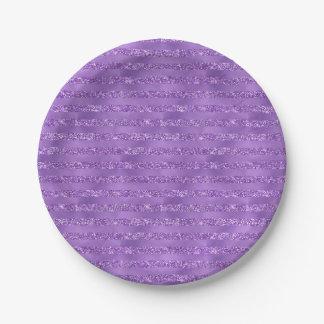 Purple Glittery Stripes Paper Plate