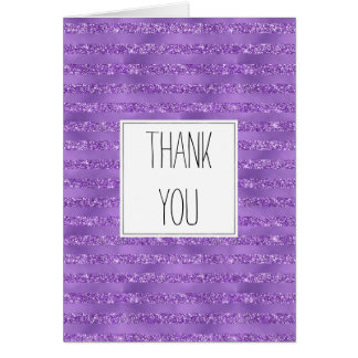 Purple Glittery Stripes Thank you Card