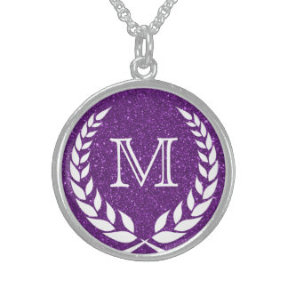 Purple Glitz Wreath Frame Monogram Sterling Silver Necklace