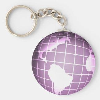 Purple Globe Basic Round Button Keychain