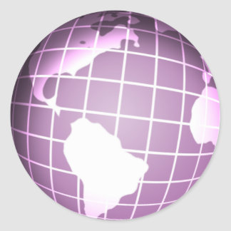 Purple Globe Classic Round Sticker