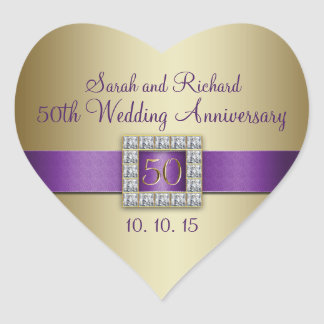 Purple Gold 50th Wedding Anniversary Heart Sticker