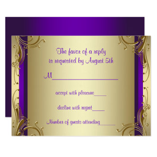 Purple Gold 50th Wedding Anniversary Party RSVP Card