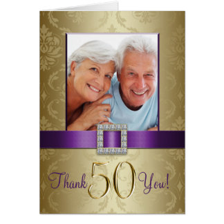 Purple Gold 50th Wedding Anniversary Thank You Card