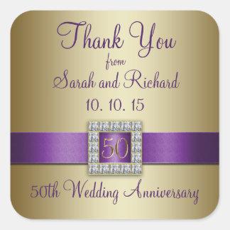 Purple Gold 50th Wedding Anniversary Thank You Square Sticker