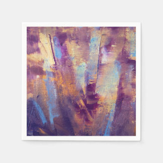 Purple & Gold Abstract Oil Painting Metallic Paper Napkin