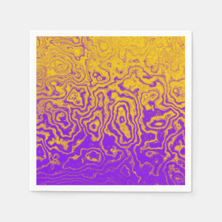 Purple & Gold Abstract Paper Napkins