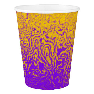 Purple & Gold Abstract Paper Plates Paper Cup