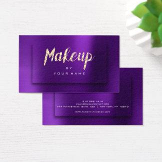 Purple Gold Amethyst Typograph Makeup Artist 3D Business Card